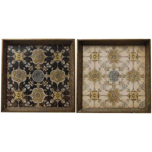 A & B Home 20 in. x 20 in. Decorative Tray in Rustic Brown (2-Pack)