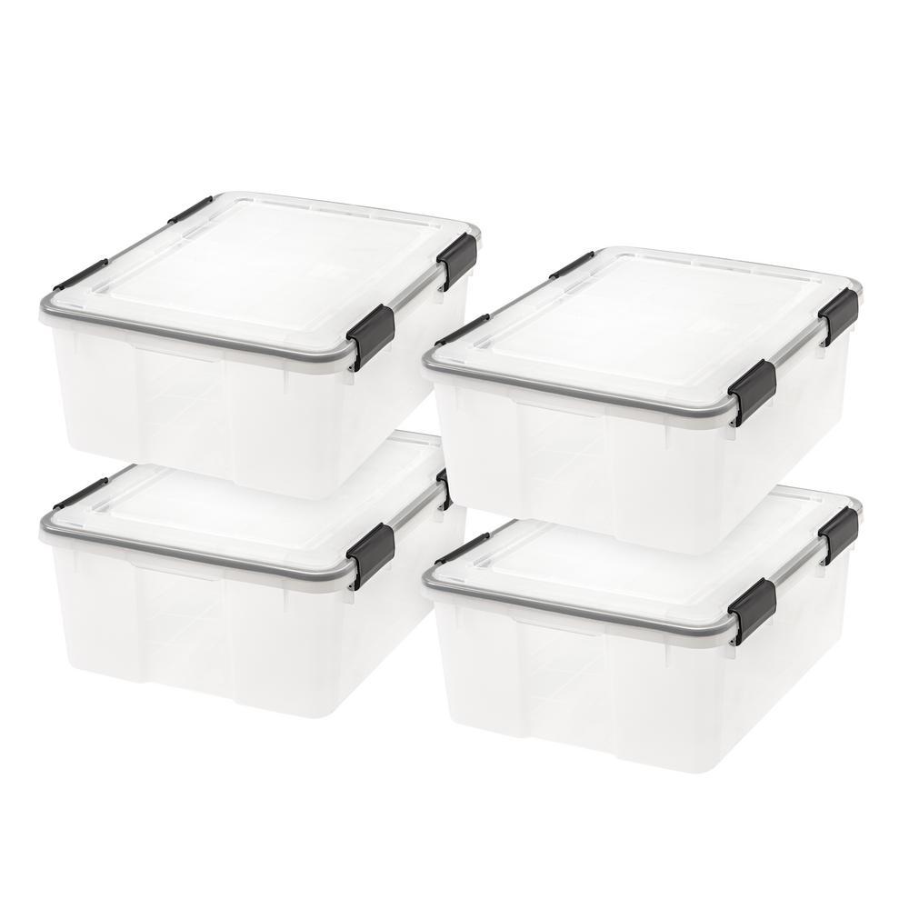 30 Qt. WEATHERTIGHT Storage Box in Clear (4-Pack)