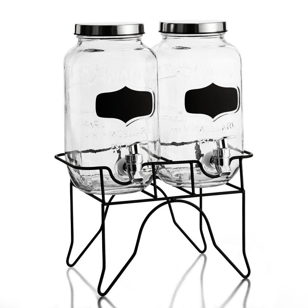 Blackboard Glass Beverage Dispensers (set of 2)