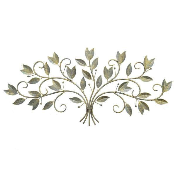 e44a5616ee THREE HANDS Metal Antique Brass Finished Leaf Wall Art 87856 - The ...