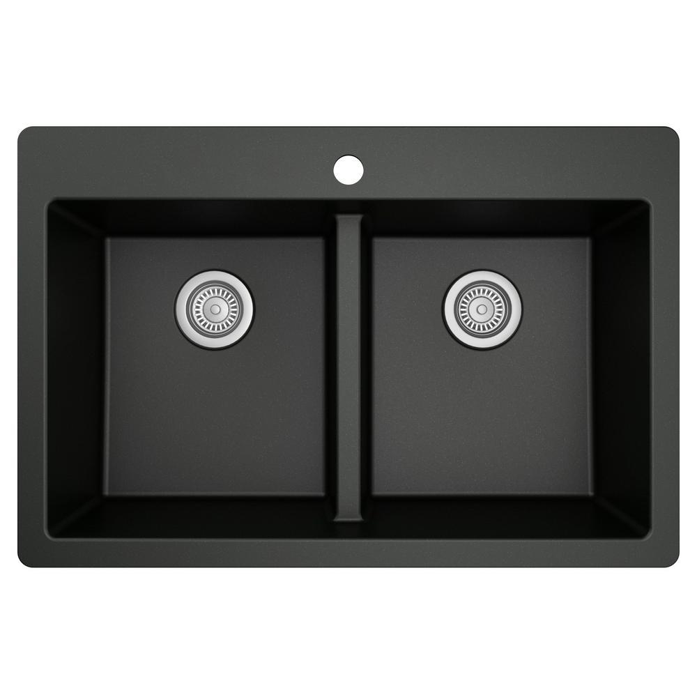 Black Quartz 33 in. 50/50  Double Bowl Composite Drop-in Kitchen Sink