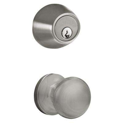 Satin Nickel Keyless Entry Electronic Deadbolt and Knob Handleset with RF Remote Control