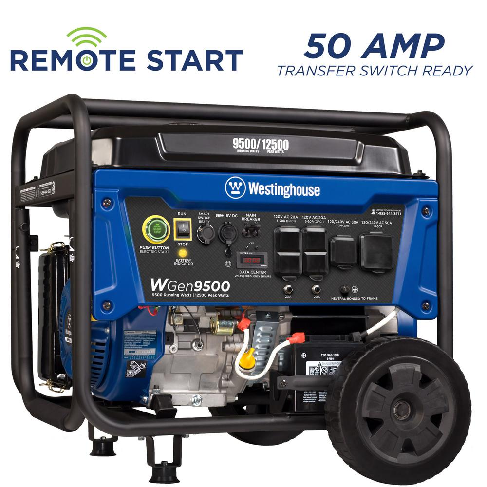 Westinghouse 9500-Watt Heavy-Duty Gas Powered Transfer Switch Ready Portable Generator with Electric and Remote Start Prepare your backup power supply with the Westinghouse WGen9500 Gasoline Powered Portable Generator with 9500 rated watts and 12500 peak watts. The heavy duty 13.5-HP 457cc OHV 4-Stroke Westinghouse Engine is equipped to power your major appliances such as an air conditioner, refrigerator, and sump pump at the same time. The WGen9500 will run for up to 17.5 hours on a 6.6 gallon fuel tank to keep you powered through the night or day. Push-Button Electric Start makes starting the generator a breeze while the remote start key fob offers added convenience to start from a distance of 109 yards. In addition, an emergency back up recoil start ensures you stay powered no matter what circumstances arise. The control panel spotlights a variety of water-resistant outlets including four 120-Volt 20 Amp 5-20R GFCI home outlets, one 120/240-Volt 30 Amp L14-30R Transfer Switch Ready outlet, an RV Ready 120/240V 50A 14-50R outlet, and two 5-Volt USB ports all protected by durable rubberized outlet covers. VFT display keeps you up to date with the volt output, frequency, and lifetime hours. Transfer switch ready feature allows you to energize all your home's necessary appliances when you need them the most with a single cord hookup. Conveniently portable with an included set of heavy duty never-flat wheels, handle, and lift bracket to have your house, travel trailer, or jobsite powered in seconds. EPA and CARB compliant.