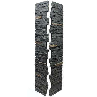 Slatestone Midnight Ash 8 in. x 8 in. x 41 in. Faux Polyurethane Stone Post Cover (2-Piece)