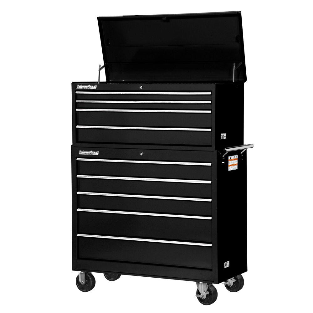 International Workshop 42 in. 9-Drawer ToolSet, Black