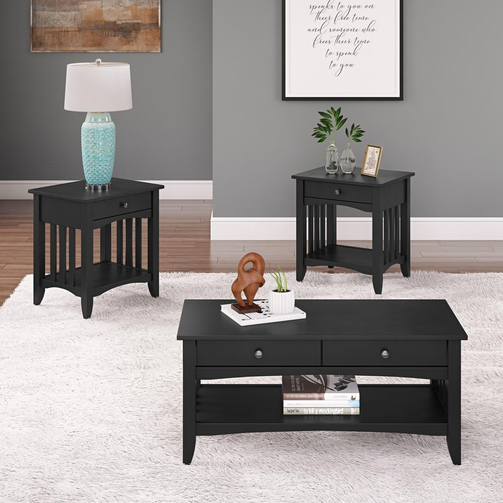 Crestway 3-Piece Black Coffee Table and End Tables Set with Drawers