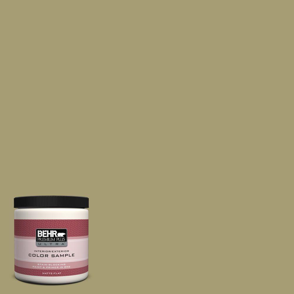 BEHR Premium Plus Ultra 8 oz. #PPU9-4 Fresh Olive Interior/Exterior Paint Sample