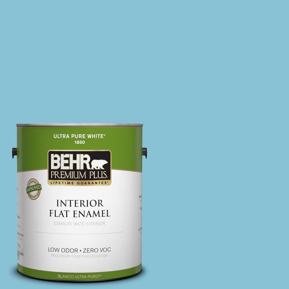 BEHR Premium Plus 1-gal. #540D-4 Dreaming Blue Zero VOC Flat Enamel Interior Paint-DISCONTINUED