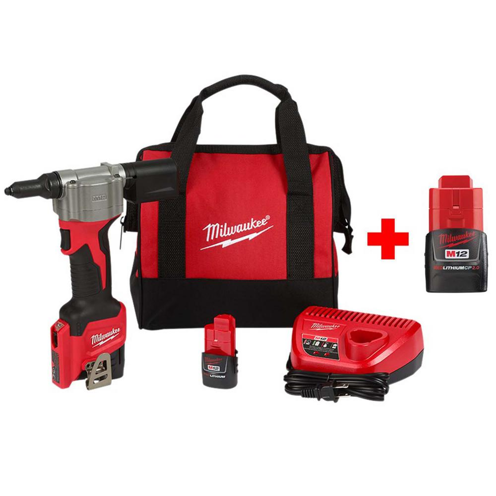 Milwaukee M12 12-Volt Lithium-Ion Cordless Rivet Tool Kit with Free 2.0 Ah Battery