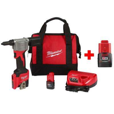 M12 12-Volt Lithium-Ion Cordless Rivet Tool Kit with Free 2.0 Ah Battery