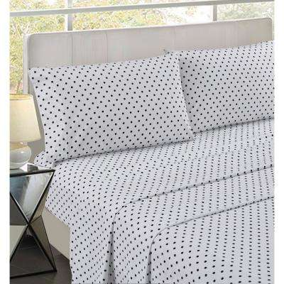 Santa Monica White 4-Piece Cotton Sateen Queen Sheet Set