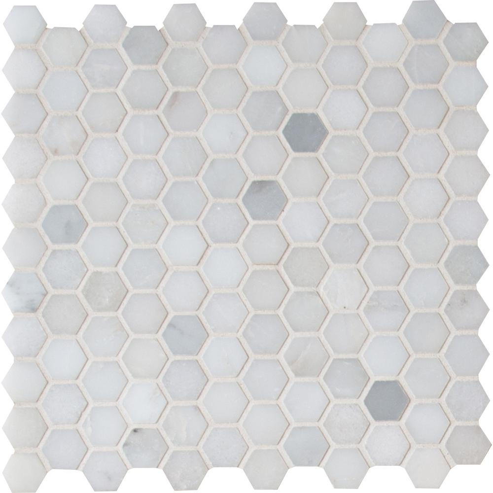 MSI Greecian White Mini Hexagon 11 61 in  x 11 81 in  x 10mm Polished  Marble Mesh-Mounted Mosaic Tile