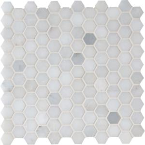 Greecian White Mini Hexagon 11.61 in. x 11.81 in. x 10mm Polished Marble Mesh-Mounted Mosaic Tile