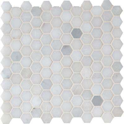 Exceptional Greecian White Hexagon 12 In. X 12 In. X 10 Mm Polished Marble Mesh