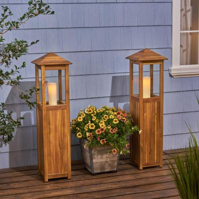 Claudine 47 in. Wood Outdoor Candle Lantern (2-Pack)