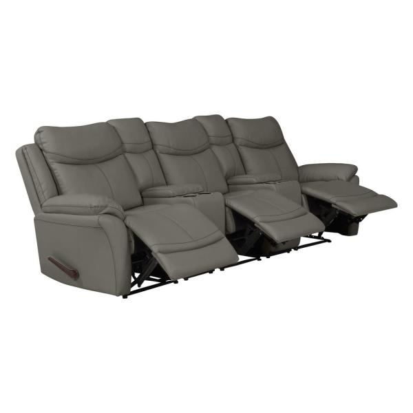 Prolounger Taupe Gray Tuff Stuff Fabric 3 Seat Recliner Sofa With 2