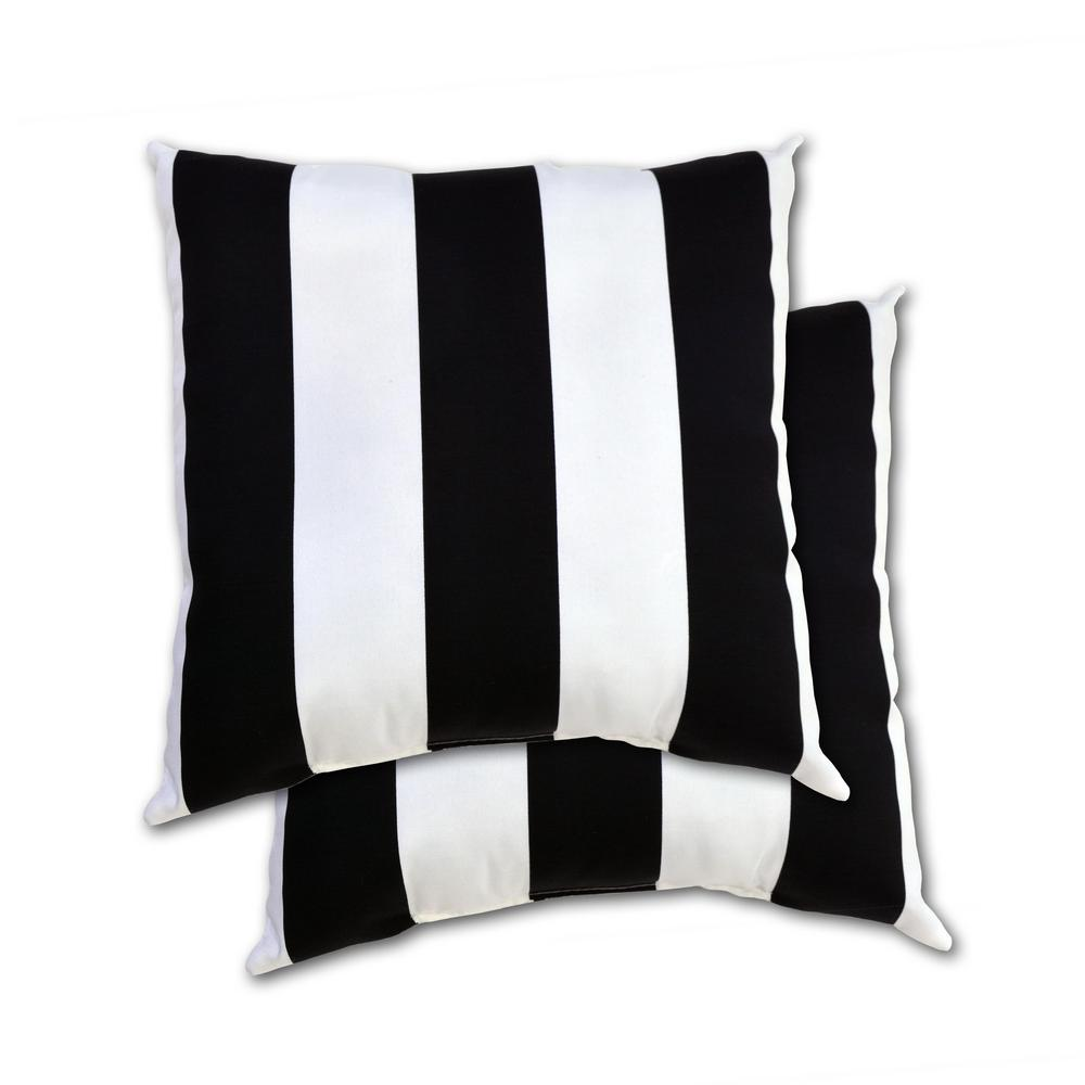 Black Cabana Stripe Square Outdoor Throw Pillow (2-Pack)