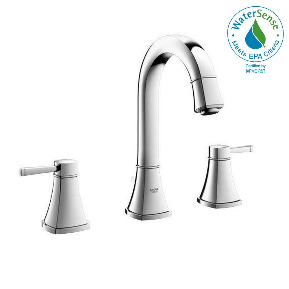 GROHE Grandera 8 in. Widespread 2-Handle High Arc Bathroom Faucet in ...