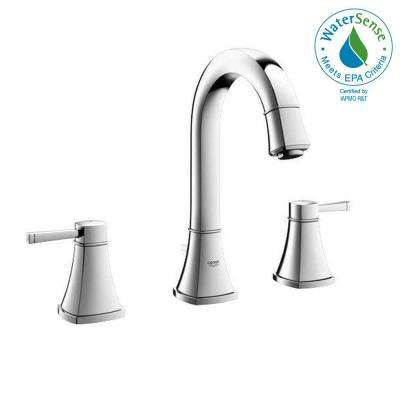 Grandera 8 in. Widespread 2-Handle High Arc Bathroom Faucet in Polished Chrome