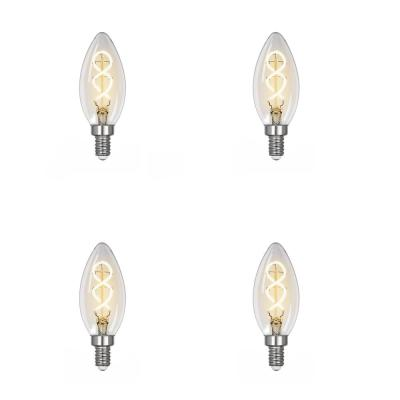 25-Watt Equivalent B10 Dimmable Candelabra Clear Glass Vintage LED Light Bulb with Spiral Filament Soft White (4-Pack)
