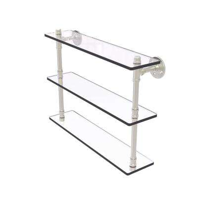 Pipeline Collection 22 in. Triple Glass Shelf in Satin Nickel