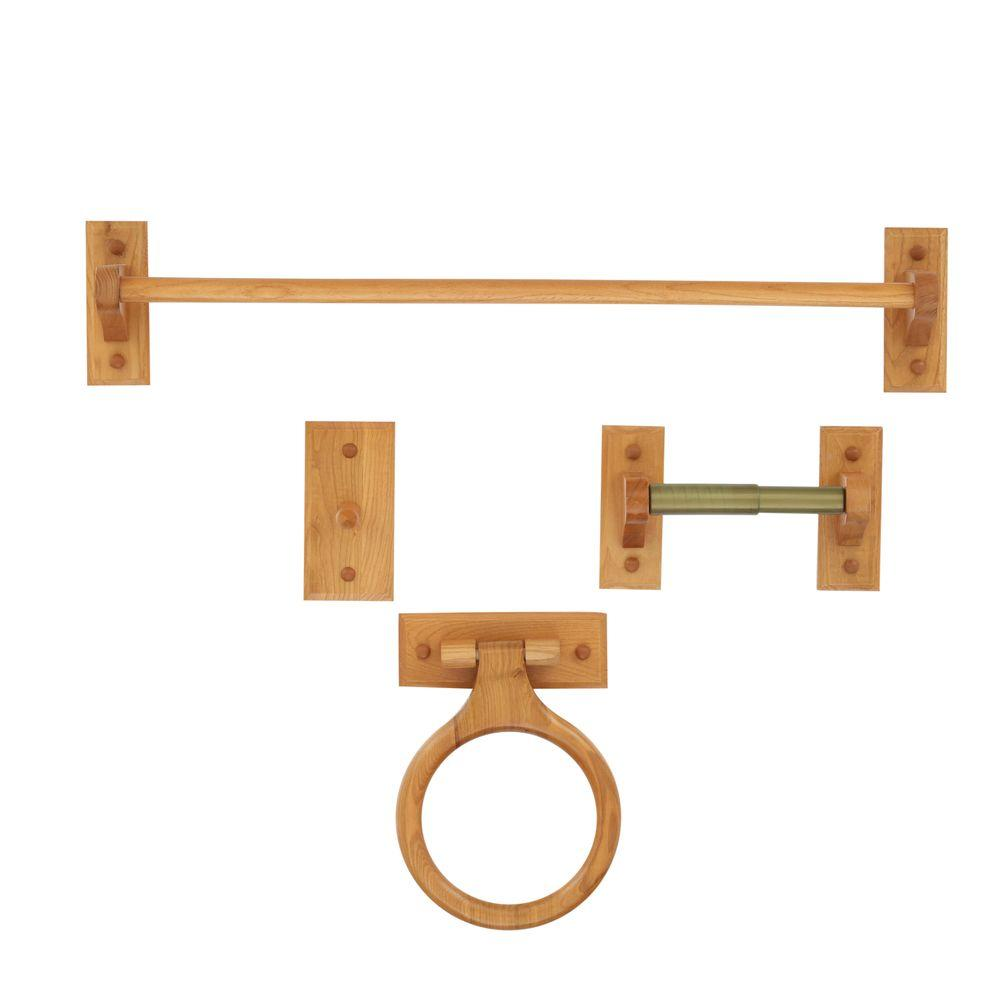 4pc Wood Bathroom Bath Hardware Accessory Kit Towel Bar Ring Paper ...