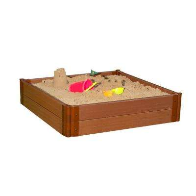 Two Inch Series 4 ft. x 4 ft. x 11 in. Classic Sienna Composite Square Sandbox Kit
