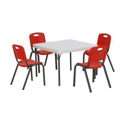 5-Piece Red and White Children's Table and Chair Set