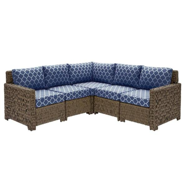 Laguna Point Brown 5-Piece Wicker Outdoor Patio Sectional Sofa Set with CushionGuard Midnight Trellis Navy Blue Cushions