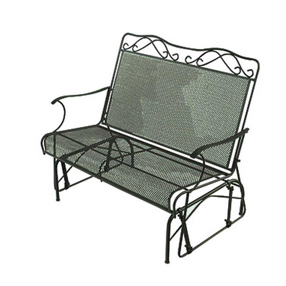 null Wrought Iron Green Patio Double Glider-DISCONTINUED
