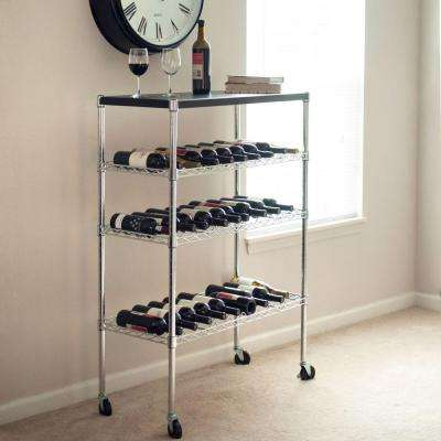 Chrome Wine Cart with Storage