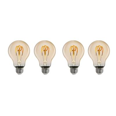 25-Watt Equivalent AT19 Dimmable LED Amber Glass Vintage Edison Light Bulb With W-Type Filament Warm White (4-Pack)
