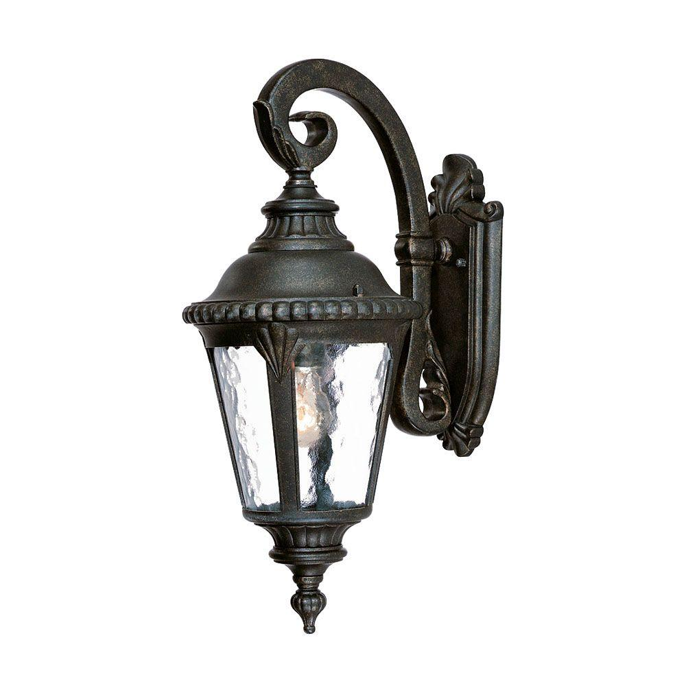 Wall Lantern Light Fixture : Acclaim Lighting Surrey Collection Wall-Mount 1-Light Outdoor Black Gold Light Fixture-7202BG ...