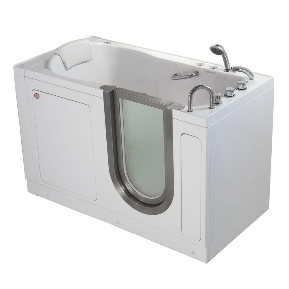 Deluxe 55 in. Acrylic Walk-In Whirlpool and MicroBubble Bathtub in