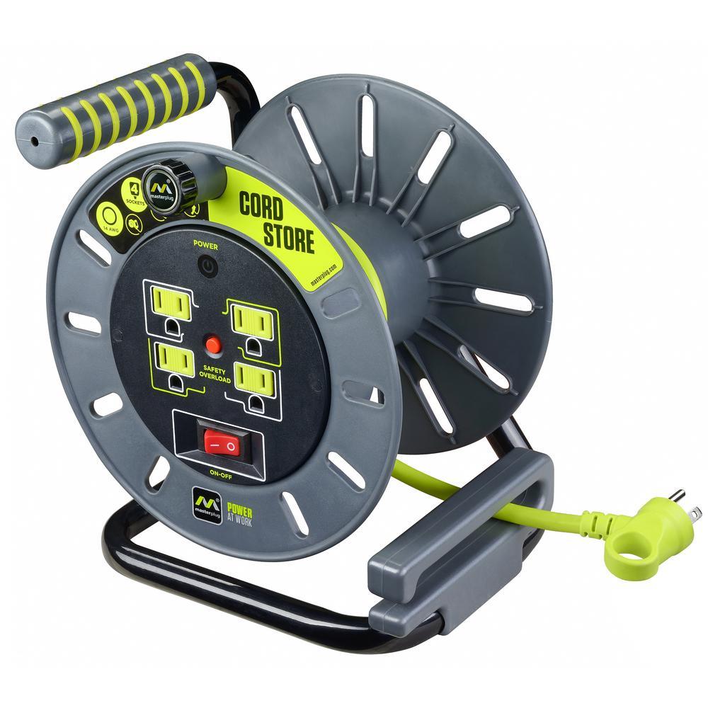 Masterplug Pro XT 40 m 4 Gang 13 A Ouvert Métal Câble Reel avec Thermal Cut Out