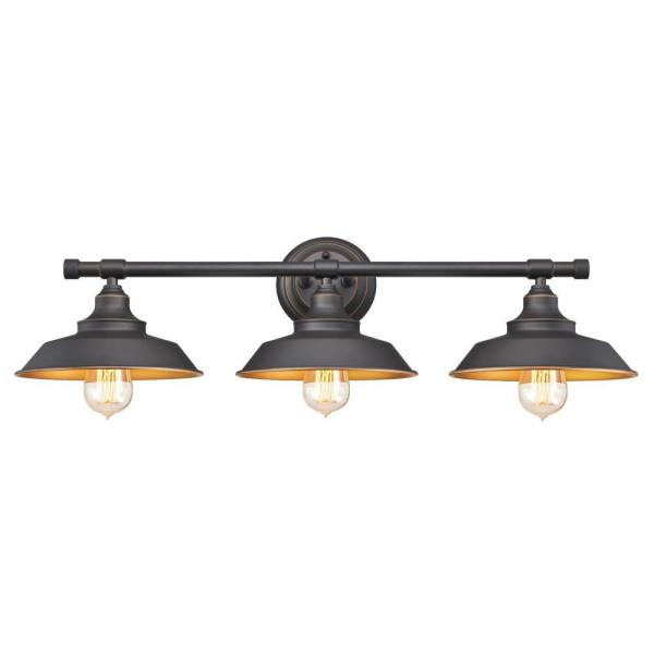 Iron Hill 3-Light Oil Rubbed Bronze Wall Mount Bath Light