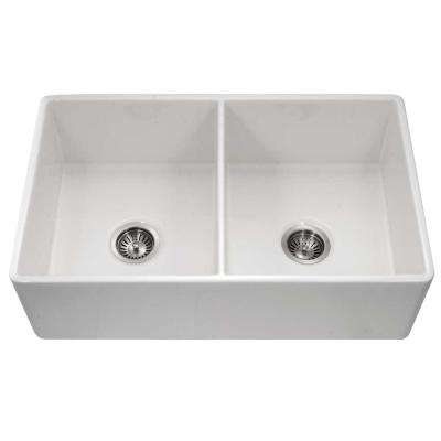Platus Apron Front Fireclay 33 in. Double Bowl Kitchen Sink in White with Dual-Mounting Options