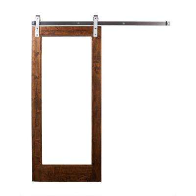 36 in. x 84 in. Stain, Glaze, Mirror Door with Industrial Sliding Door Hardware Kit in Brushed Steel