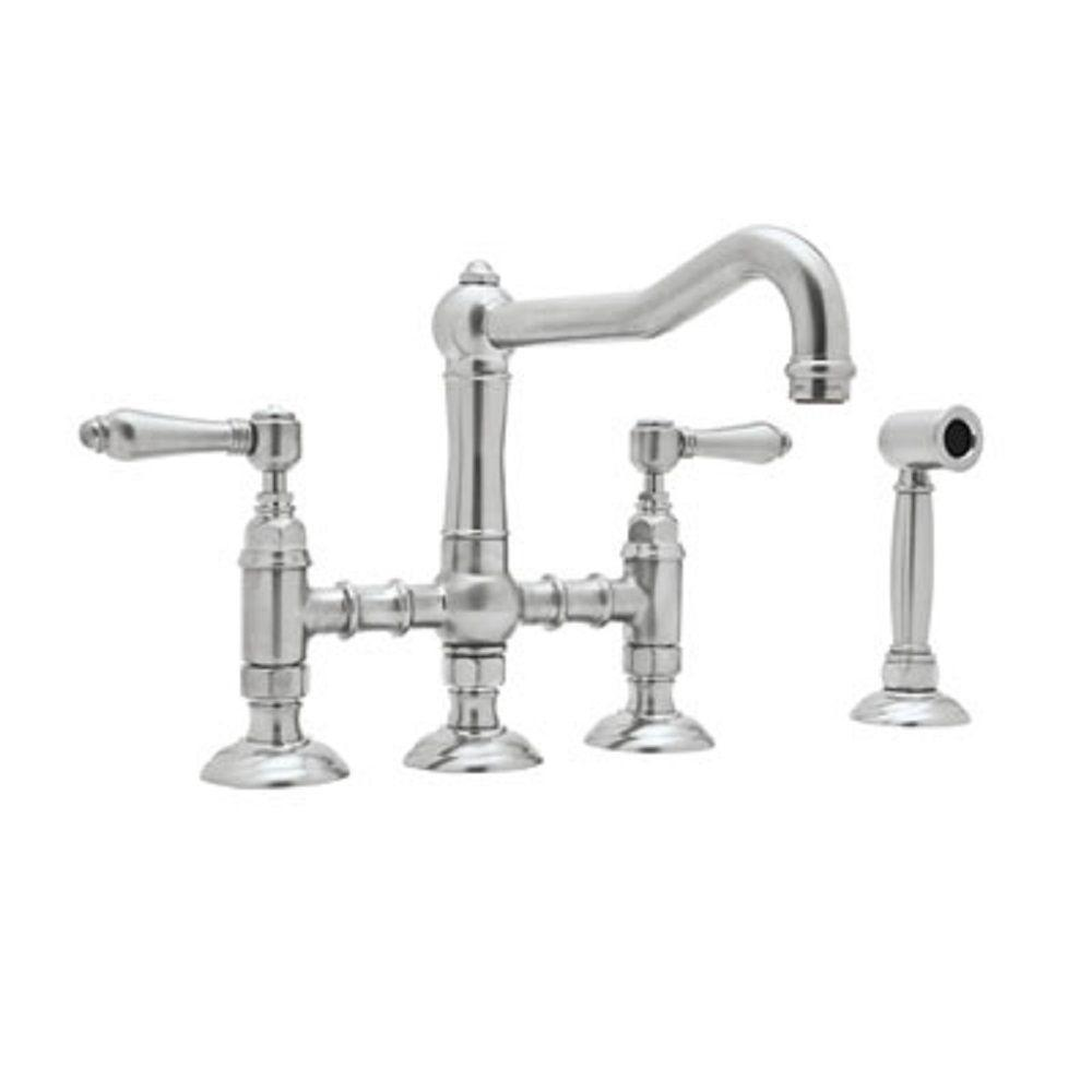 rohl country 2-handle bridge kitchen faucet with side sprayer in