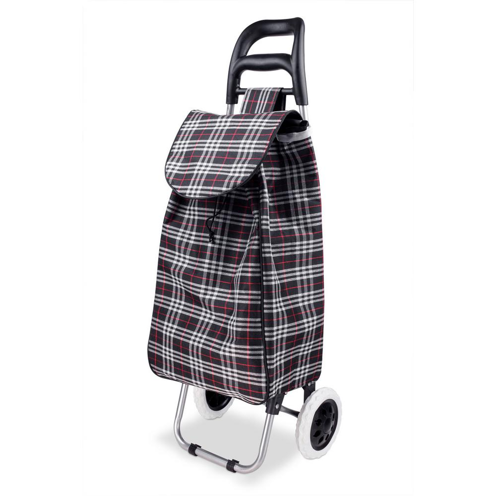 ceb560b2d212 Home Basics Non-Woven 2-Wheeled Plaid Rolling Shopping Cart in Black