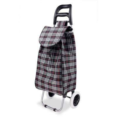 Non-Woven 2-Wheeled Plaid Rolling Shopping Cart in Black