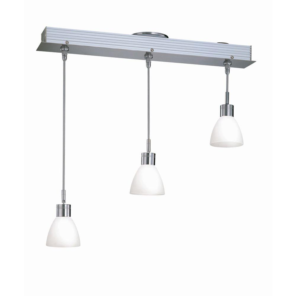 Illumine 3-Light Polished Steel Lamp Chandelier with Frost Glass