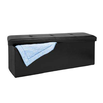 Black Faux Leather Triple Folding Storage Ottoman