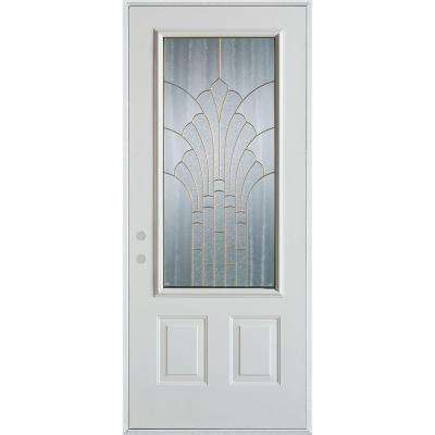 36 in. x 80 in. Art Deco 3/4 Lite 2-Panel Painted White Right-Hand Inswing Steel Prehung Front Door