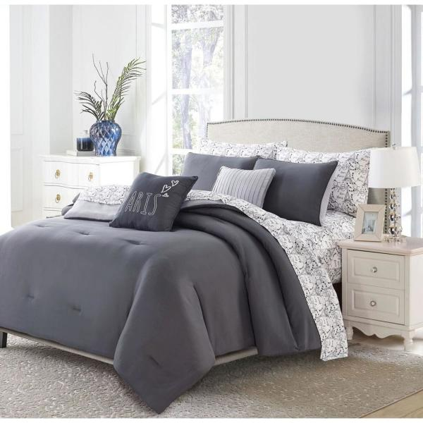 9-Piece Charcoal Parisian King Bed in a Bag Set 13289