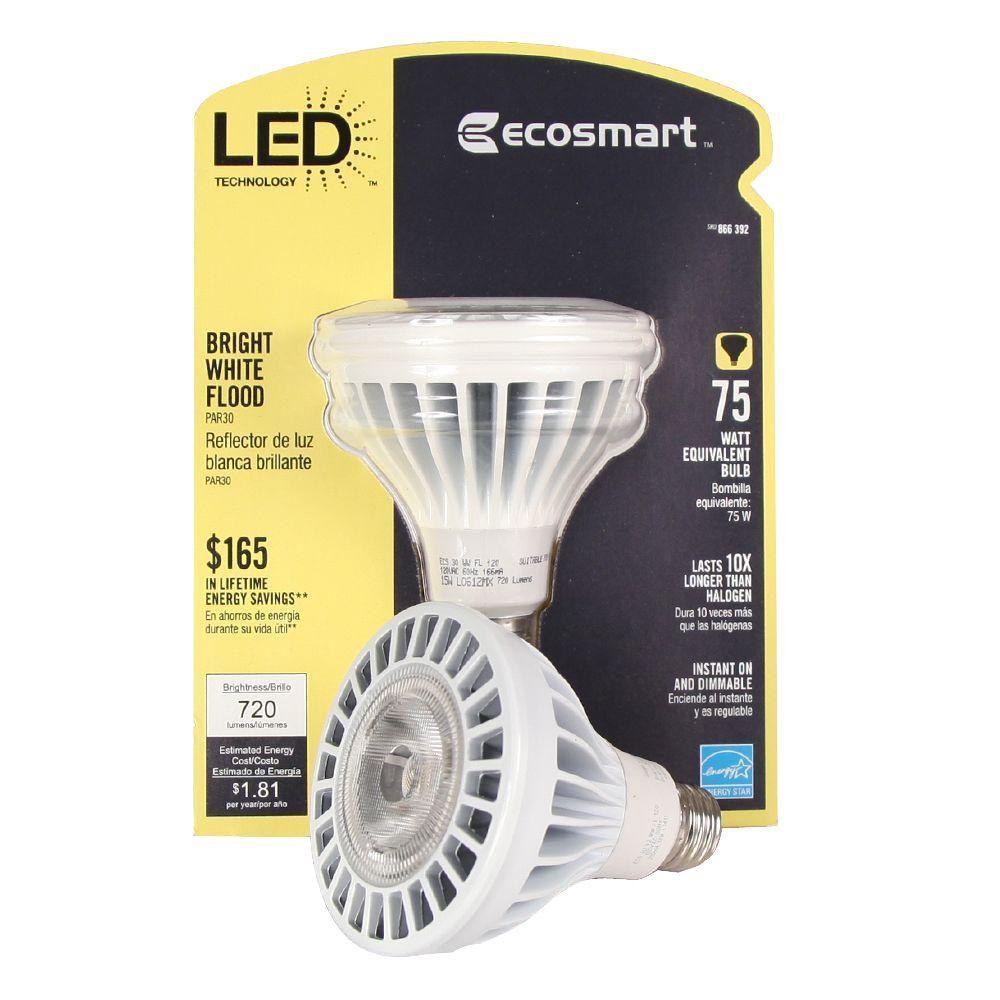 EcoSmart 75W Equivalent PAR30 Bright White (3000K) LED Flood Light Bulb (E)*
