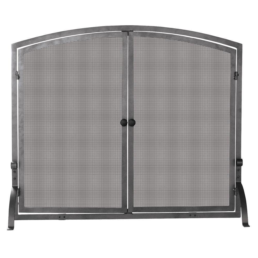 Olde World Iron Single-Panel Fireplace Screen with Doors, Medium