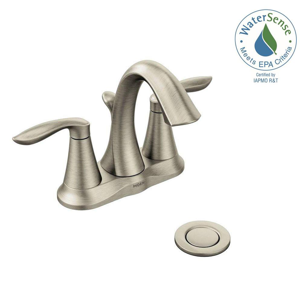 Moen Eva 4 In Centerset 2 Handle High Arc Bathroom Faucet In Brushed Nickel 6410bn The Home Depot