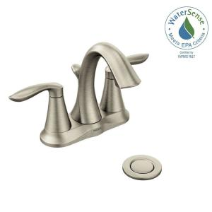 Centerset 2 Handle High Arc Bathroom Faucet In Brushed Nickel