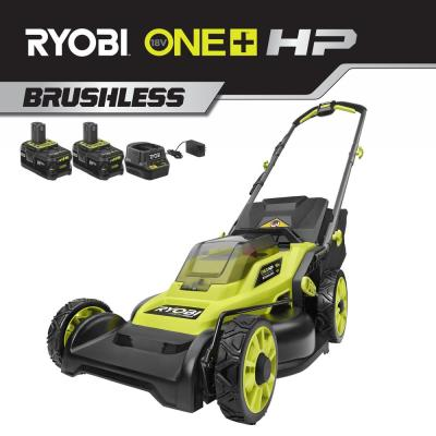 16 in. ONE+ HP 18-Volt Lithium-Ion Cordless Battery Walk Behind Push Lawn Mower w/ Two 4.0 Ah Batteries/Charger Included